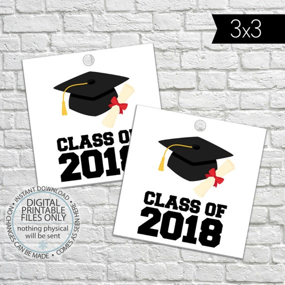 printable graduation gift tags class of 2018 high school etsy