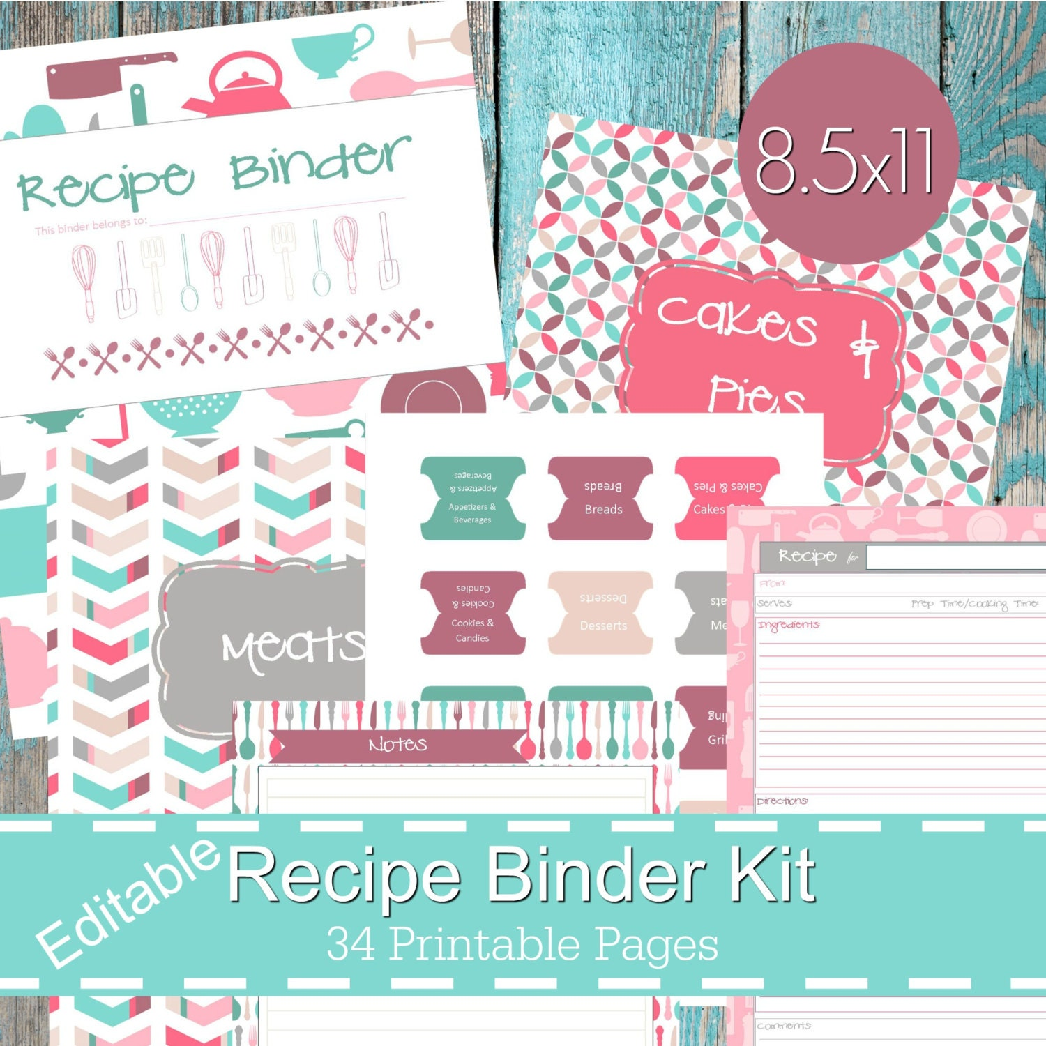 Printable Recipe Binder Kit Personalized Family Recipe
