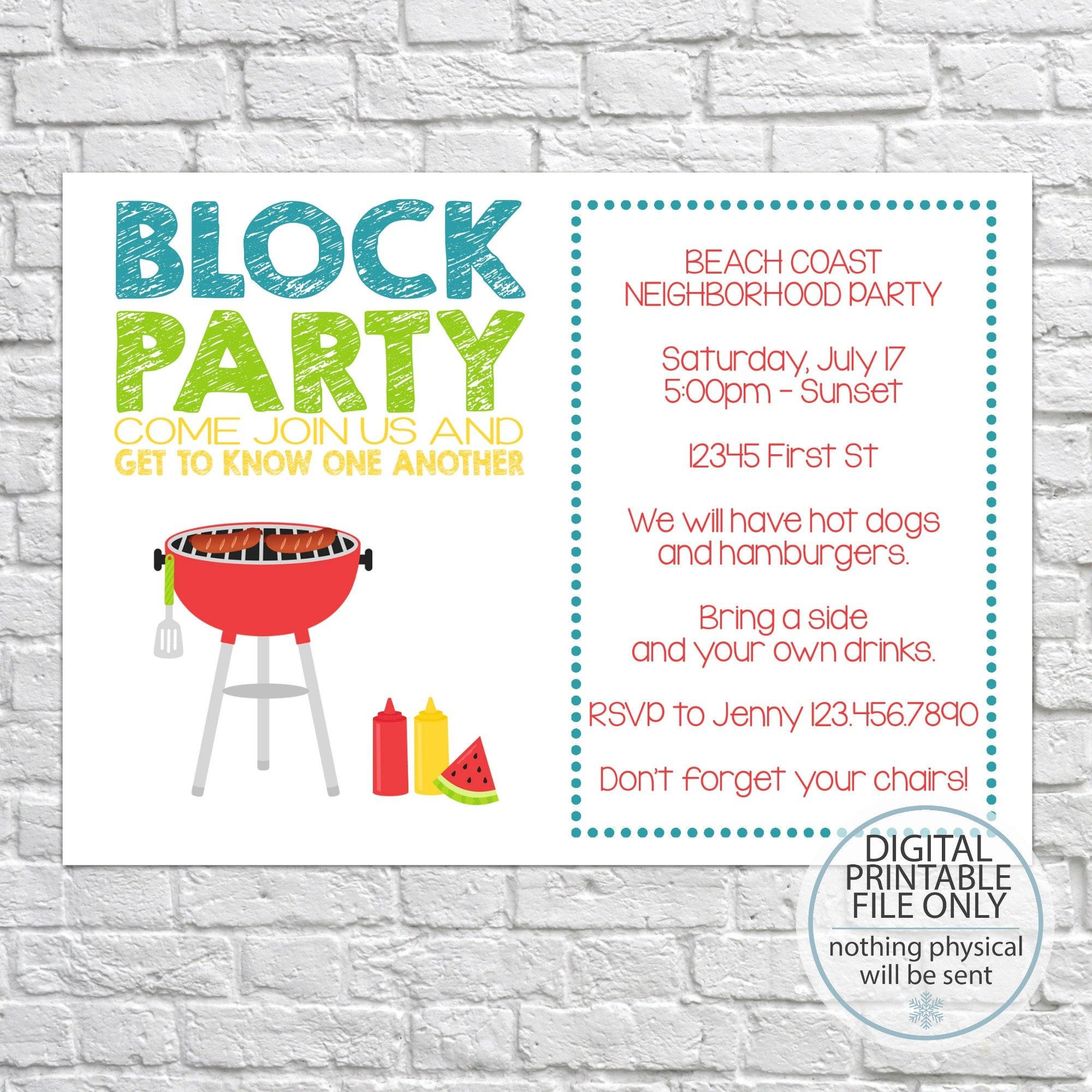Printable Neighborhood Party Invitation Neighborhood Open | Etsy