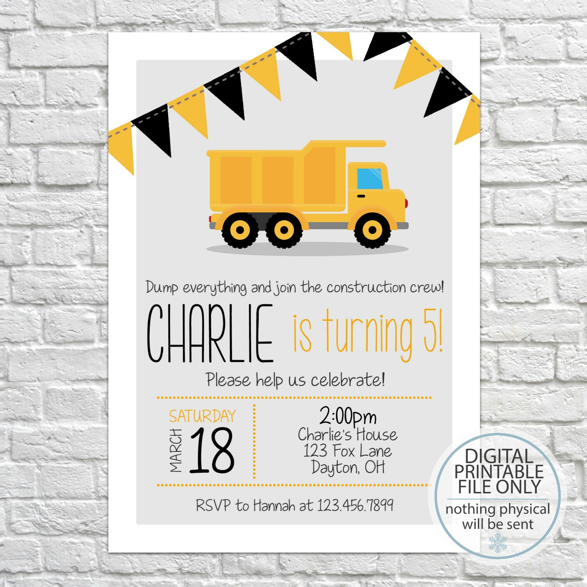 Printable Dump Truck Invitation Construction Party | Etsy