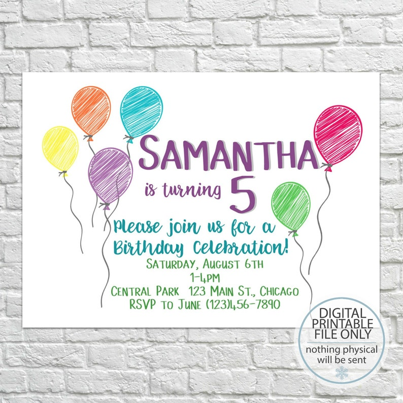 Printable Birthday Invitation Kids Birthday Birthday Etsy