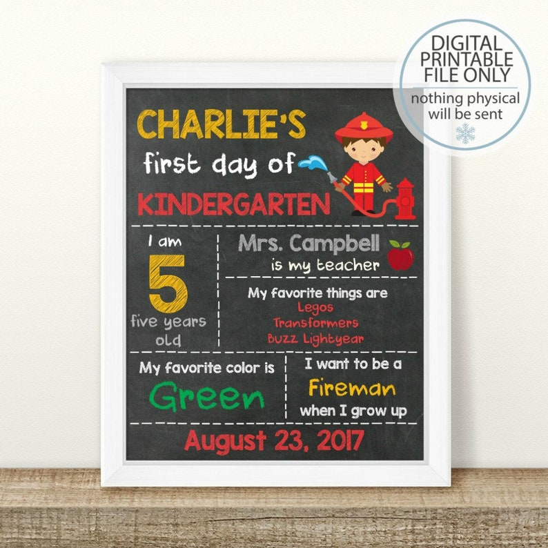 Personalized First Day of School Sign Chalkboard Photo Prop Any Grade PRINTABLE First Day of School Sign Printable Back to School Sign