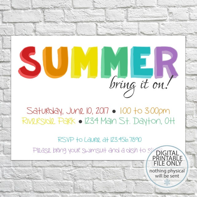 Summer Party Invitation Backyard Barbeque Invitation Picnic