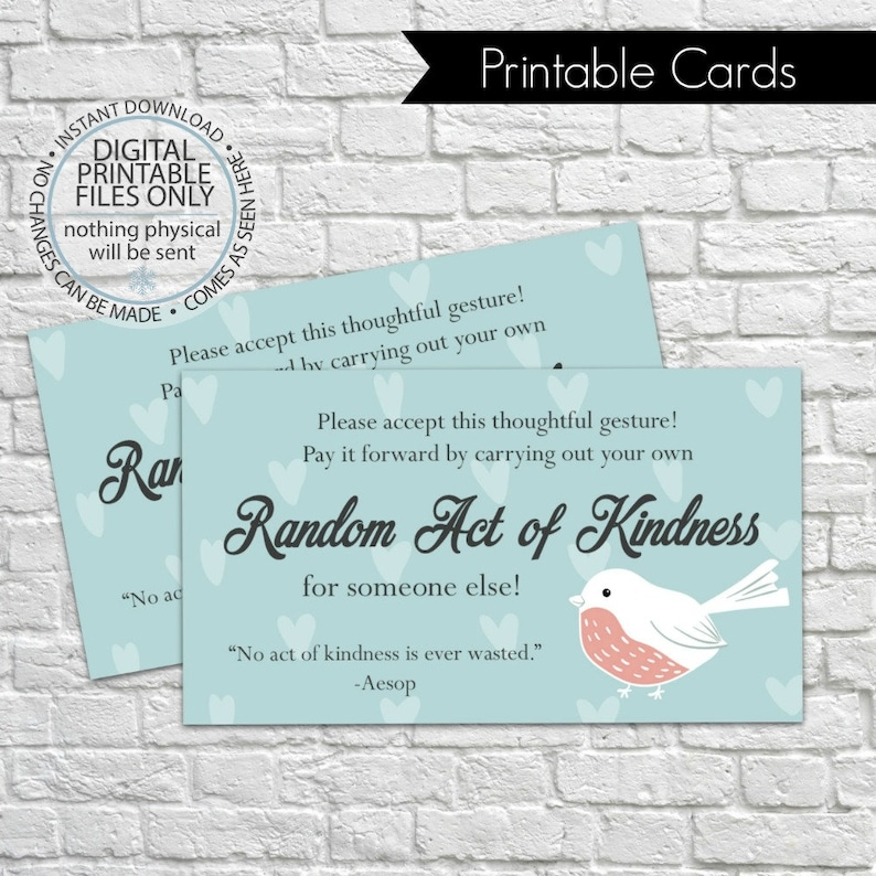 photograph regarding Random Acts of Kindness Cards Printable identified as Printable Random Act of Kindness Playing cards, RAOK, Pay back It Ahead, Do-it-yourself Printable, Contacting Playing cards, Random Functions - Winter season Fowl