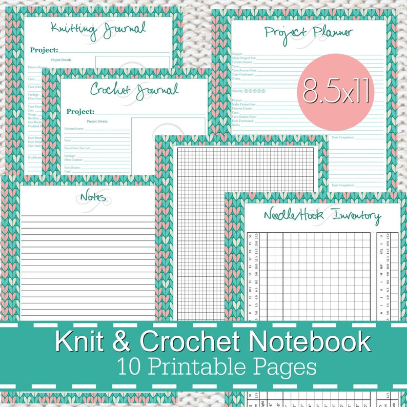 photo relating to Printable Journal Pages Pdf identified as Knitting Crochet Planner Laptop computer Magazine Printables PDF, knitting planner, knitters laptop computer, crochet planner - Sches Topic