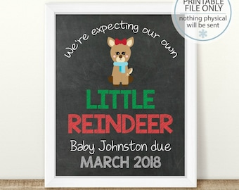 PRINTABLE Christmas Pregnancy Announcement, Little Reindeer, Reindeer pregnancy, Chalkboard Sign, Holiday Pregnancy, Pregnancy reveal, Girl