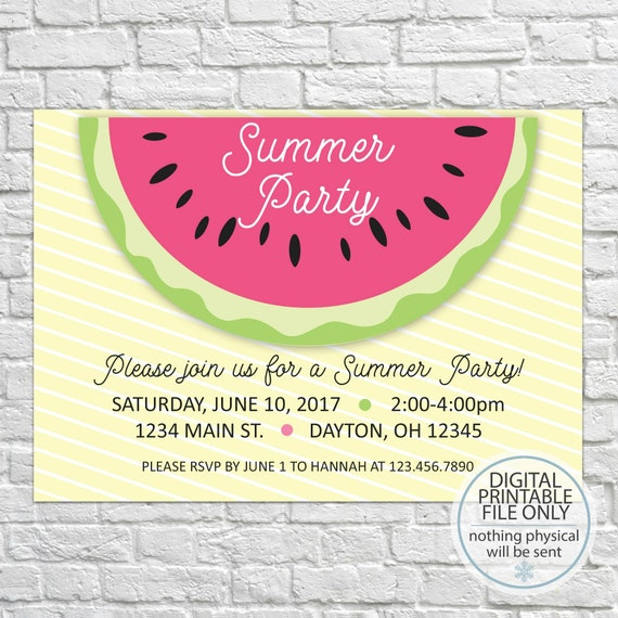 watermelon party invitation summer party invitation etsy