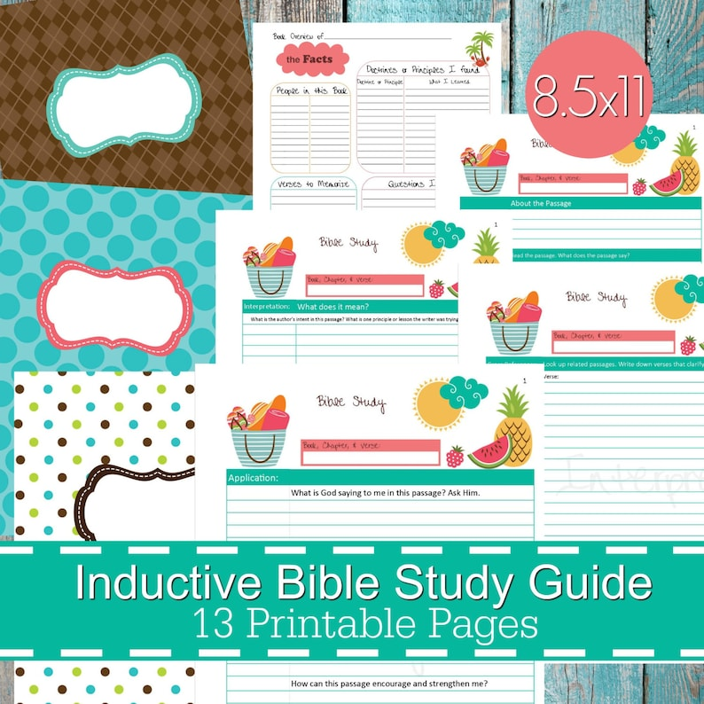 Inductive Bible Study Guide Printables PDF, Christian bible study, bible  journal, devotional guide, bible study planner - Summer Theme