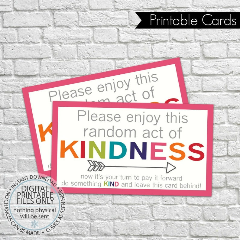 image regarding Random Act of Kindness Printable identified as Printable Random Act of Kindness Playing cards, RAOK, Pay out It In advance, Do it yourself Printable, Getting in contact with Playing cards, RAOK tags, Get pleasure from this random act of kindness