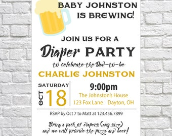 Printable Baby Shower Diaper Party Invitation, Beer and Diaper Party Invitation, Diaper Beer Pizza Invitation, Diaper Baby Shower Invitation