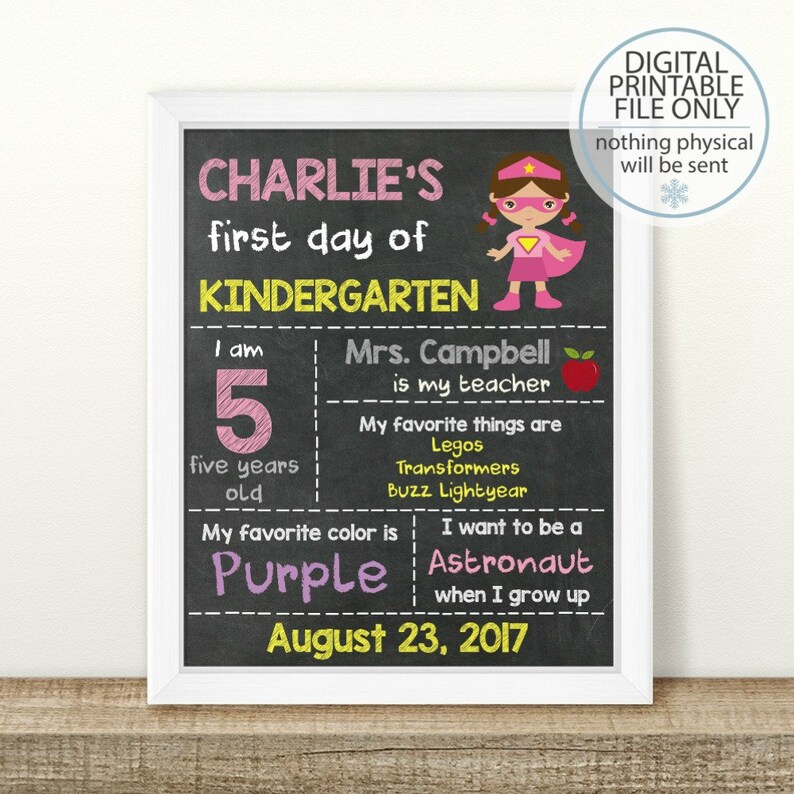 Any Grade Printable Back to School Sign Chalkboard Photo Prop PRINTABLE First Day of School Sign Personalized First Day of School Sign