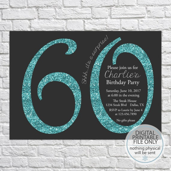Printable 60th Birthday Invitation Adult Party