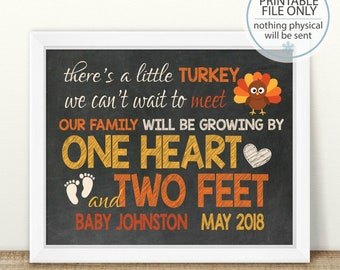 PRINTABLE Fall Pregnancy, Thanksgiving Pregnancy Announcement, Little Turkey, Growing By One Heart And Two Feet, Chalkboard Sign, Expecting