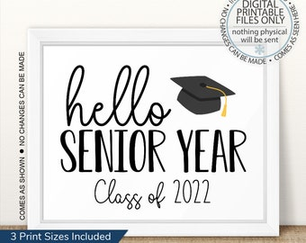 Senior Class of 2022, First Day of Senior Year Sign, Printable First Day, Back To School, First Day of School Printable Sign, Senior Year