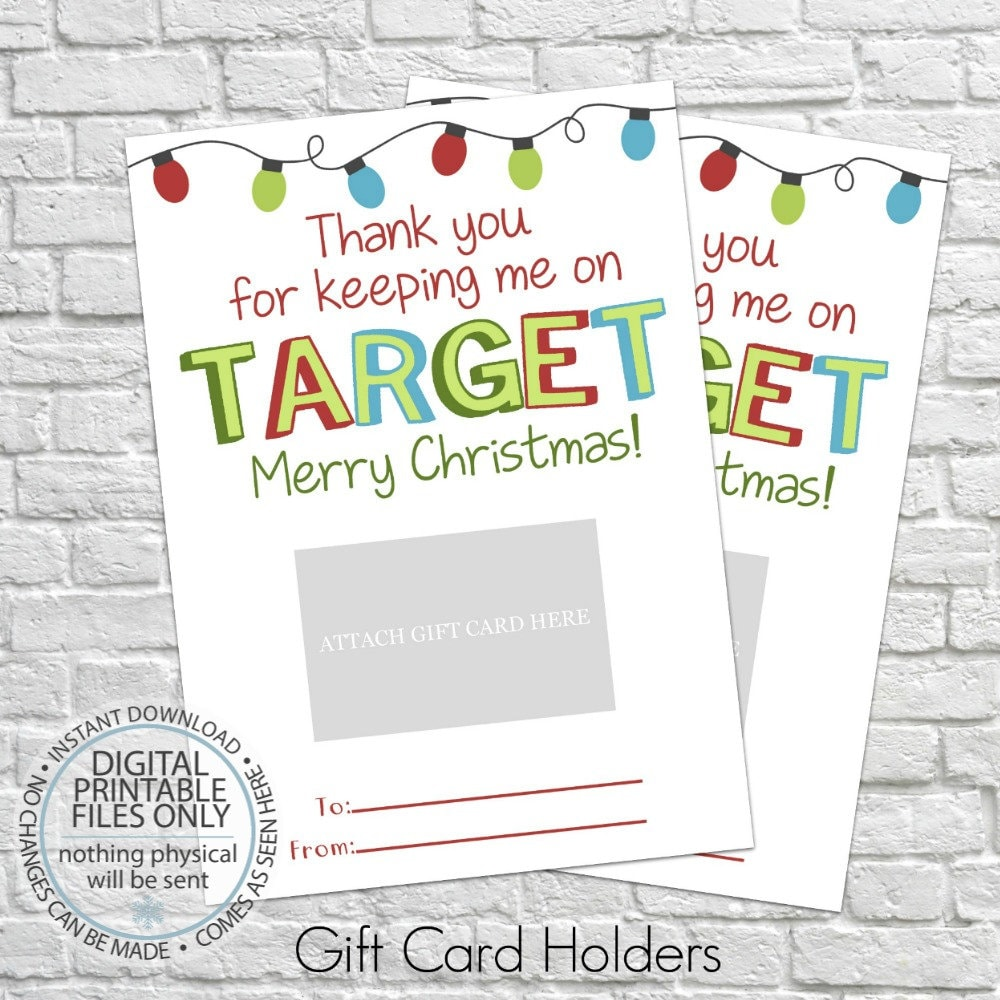 Printable Christmas Gift Card Holder Thank You Gift Card
