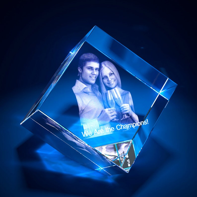 Gift for Him Personalized Photo Gift Diamond 3D Laser Etched Crystal Anniversary Custom Gift for Her