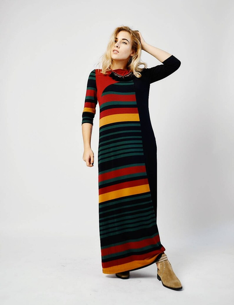 ready to ship Combi Color Block Asymmetric Red Stripe Black Long Full length Jersey Viscose Designer Dress Boho Holiday
