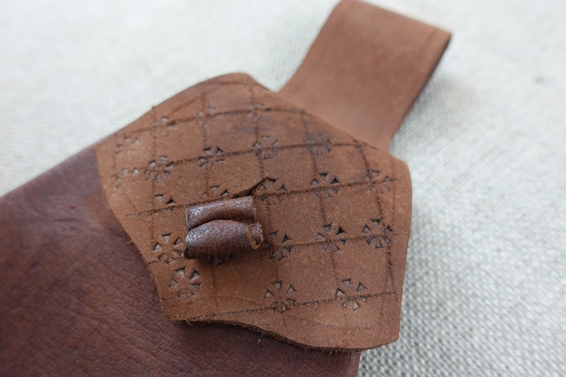 Medieval leather belt pouch 12thC to 17thC