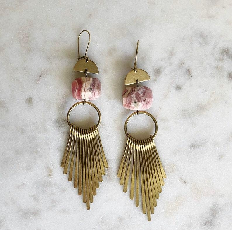 6cf6e338a86ed Pink Opal + Brass Fringe Earrings