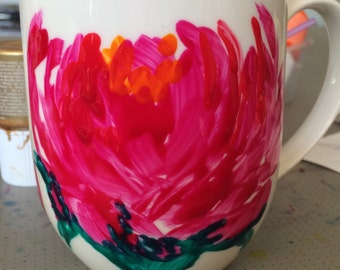 FREE POST Peony hand painted pink coffee mug