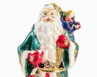 045b9427b Ciel Collectables Santa Clause Trinket Box. Hand Made with Green & Red  Enamel. Made with Beautiful Swarovski Crystal. Free Shipping