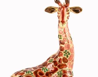 Vintage Wood Trinket Box Silver Giraffes Motif