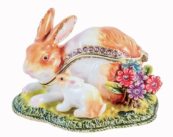 cd5849cad Ciel Collectables Bunny with Baby on Grass Trinket Box. Hand Set Swarovski  Crystal. Hand Painted White Brown Enamel with colorful flowers.