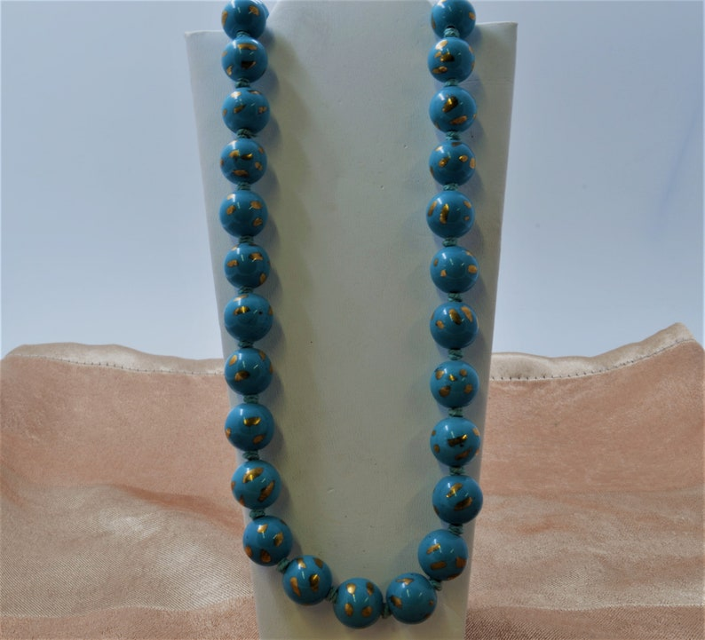 Vintage Hand Painted Hand Knotted Blue Porcelain Bead Necklace with 24K Gold Finish.