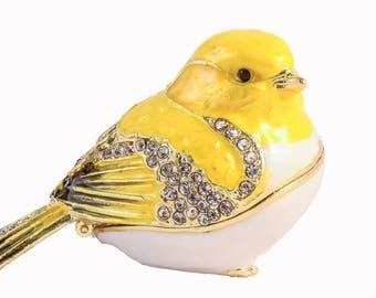 Ciel Collectables Goldfinch Bird Trinket Box, Hand Painted Enamel with Swarovski Crystal
