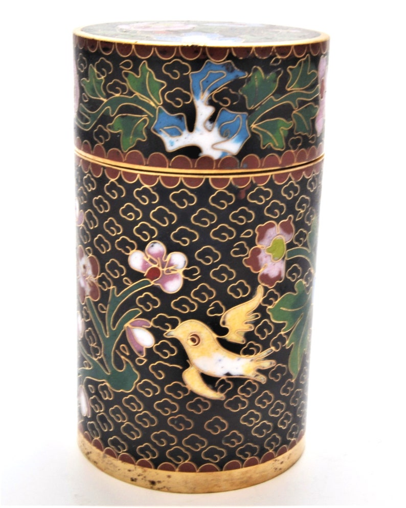 Ciel Collectables Hand Made Cloisonne Tall Cylinder Box with Floral Designs Color Black