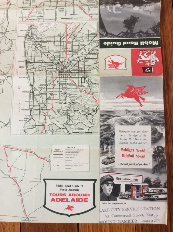 ROAD MAP of SOUTH AUSTRALIA 1960  MOBIL  Oil Co