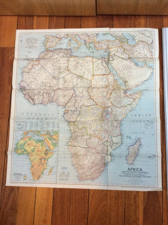 Map Of Africa 1950.Beautiful Large Vintage Map Africa 1950