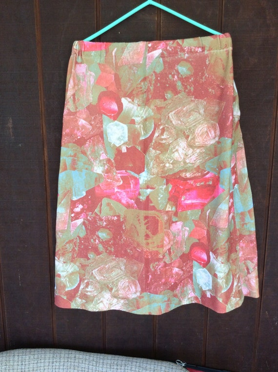 1970's physcedelic art  photo print skirt pink cry