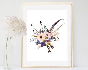 Watercolor flowers, Flower Print, Printable Art, Floral Art Print, Botanical Print , gift for her, Flower Bouquet, digital Download
