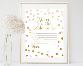 Advice For The Bride, Bridal Shower Games, Advice Cards, Printable Bridal Shower, Pink And Gold Bridal Shower, Instant Download