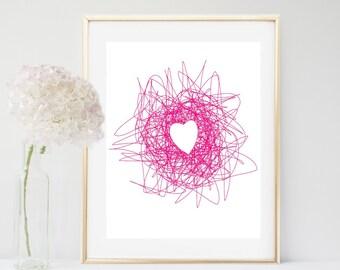 Heart Art, Abstract Print, Printable Art, Pink Heart, Scribble Art,   Nursery Wall Art, Girls Room Decor, Wall Art, digital download
