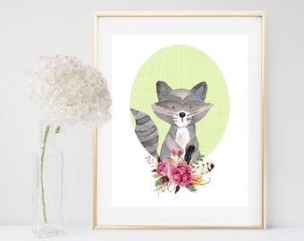 Raccoon Art Print, Nursery decor, Printable Raccoon, Watercolor Raccoon, Nursery printable,  Woodland Nursery, Nursery Art, Digital Download