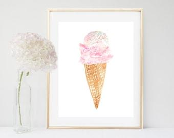 Ice Cream, Art print, Ice Cream cone,  Printable Art, Watercolor, Nursery Decor, Wall Decor,Digital download