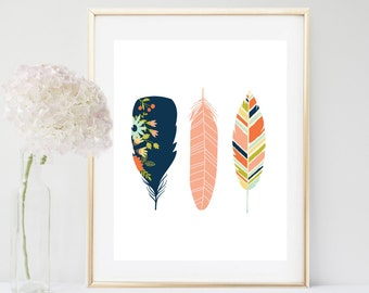 Feather Art Print, Printable Art, Feather print, Tribal Art, Boho, Wall Decor, Instant Download, Feather Wall Art