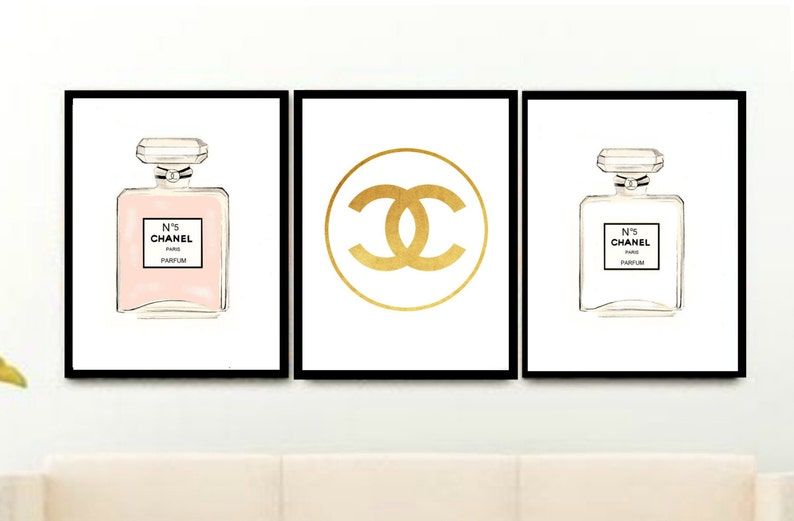 Triptych Chanel Prints Set Of 3 Prints Printable Art Etsy