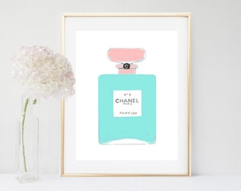 Aqua Chanel Print, Chanel Art Print,  No 5 perfume, Printable Wall Art, blue Wall Art,  Home Decor, Wall Decor,  Instant Download