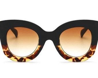 Black/Leopard Large Cat Eye Sunglasses