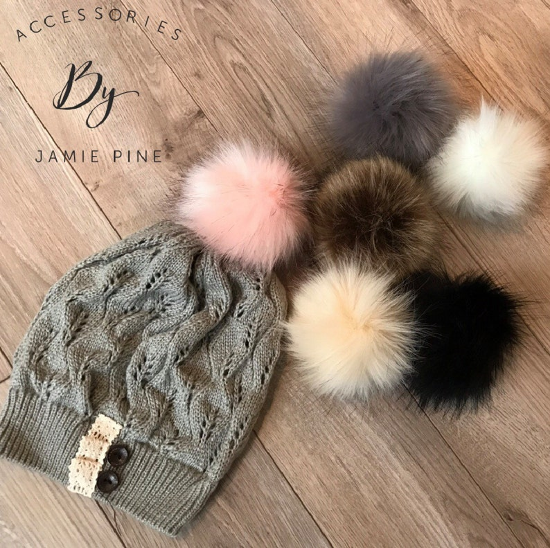 Faux fur pom pom ball for hat beanie hat fur ball attachable  48bd0599edf