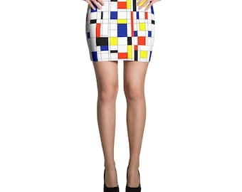 Mondrian Multi Mini Skirt