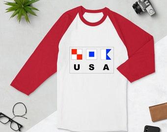 USA Nautical 3/4 sleeve raglan shirt