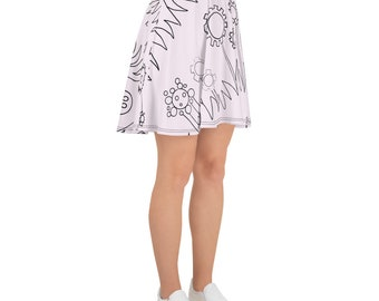 Pink Mechanical Garden Skater Skirt