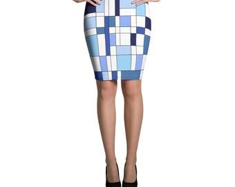 Geometric Blue Pencil Skirt