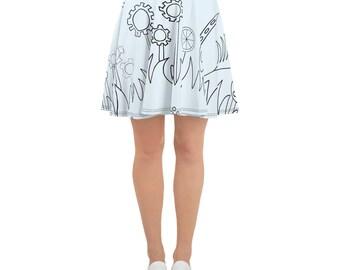 Blue Mechanical Garden Skater Skirt