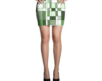 Mondrian Green Mini Skirt
