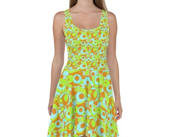Mod Circles and Squares Skater Dress